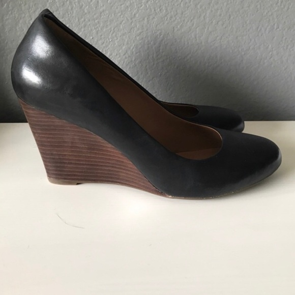 ecb9cbb52709 Clarks Shoes - Clarks Black Leather Wedges with Wooden Brown Heel